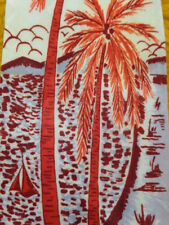 """1940s 1950s Vintage Retro ~ Hand Painted ~Mens Tie ~ Hawaii Red Palm Trees ~ 49"""""""