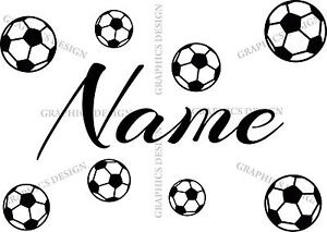 Personalised Name Boys Football Bedroom Balls Decor Art Vinyl Wall Sticker Decal