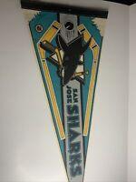 VINTAGE SAN JOSE SHARKS FULL SIZE FELT PENNANT 12 x 29 Inches RARE MAN CAVE 90s