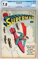 Superman # 18 1942 CGC 7.0 - WW2 Cover