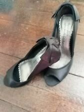"""Red Herring Black Satin Peep Toe Stiletto """"Made for Dancing"""" Bow Back Shoes UK 3"""