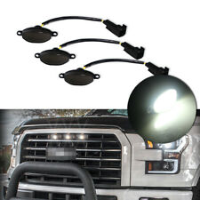 3pcs Smoked Lens White LED Running Lights Kit For Ford F-150 Raptor Front Grille