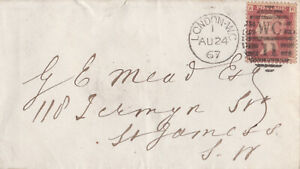 1867 QV LONDON WC COVER WITH A FINE 1d PENNY RED STAMP PLATE 73 ~ 99p START!