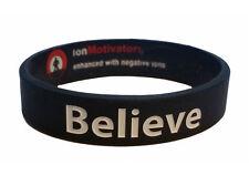 BELIEVE (Black) Wristband Motivational Inspirational Ionic Tourmaline Neg Ion