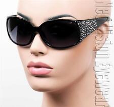 Oversized Womens Sunglasses Faux Rhinestone Vintage Style Smoke Black K118
