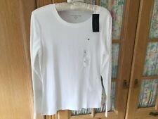 Tommy Hilfiger Ladies Long Sleeve Top/T Shirt Size L (14/16) White BNWT