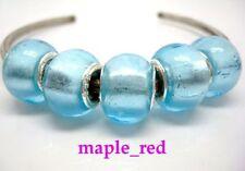 Fashion Foil Light Blue European Style Lampwork Glass Beads fit Charm Bracelet