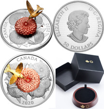 2020 Moving Hummingbird and the Bloom $50 5OZ Pure Silver Proof Coin Canada