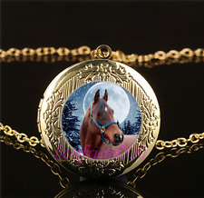 Mother and Baby Horse Cabochon Glass Gold Plating Locket Pendant Necklace