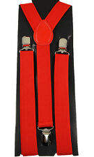 "Unisex Clip-on Braces Adjustable Elastic ""Red"" Y-Back Suspender"