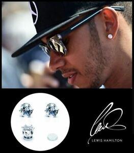 Men's / Boys Lewis Hamilton 18K White Gold Plated MAGNETIC 8mm Crystal Earrings