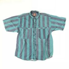 Vintage Sergio Valente Men's L Vertical Striped Button Down Short Sleeve Shirt