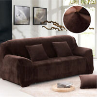 Coffee Color 195-230cm Plush Sofa Cover 3 Seater Elastic Soft Couch Slipcover