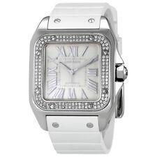 Cartier Santos  de Cartier 100 Opaline Dial White Rubber Ladies Watch WM50460M