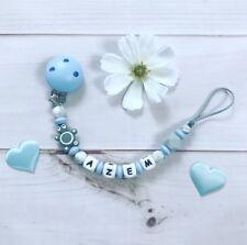 Schnullerkette Schnullerband mit Namen Wunschname Silikon grau hellblau weiß