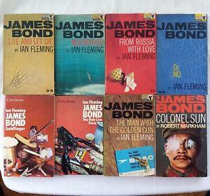 JAMES BOND, eight paperbacks, Pan Books, Ian Fleming, R. Markham 1960s/70s
