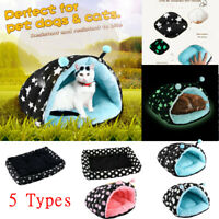 Pet Cat Dog Nest Bed Puppy Soft Warm Cave House Sleeping Bag Mat Pads US fh