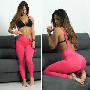 Women Sexy Overalls Yoga Pants Fitness Training Leggings Push Up Sports Gym Wear
