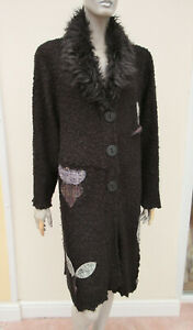 Joe Browns - Womens Black Mix Boucle Knit Long Coatigan Cardigan - size 32/34