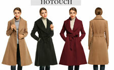 Hotouch womens red wool blend pea coat / Jacket belted notched lapel