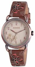 AKLS-0250L Kahuna Ladies/ Girls Watch with Clear Dial & Brown Leather Straps
