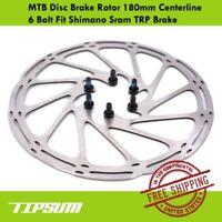 Tipsum MTB Disc Brake Rotor 180mm Centerline 6 Bolt Fit Shimano Sram TRP Brake
