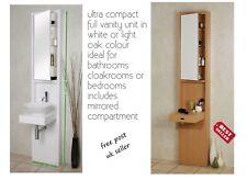 Tall Vanity Unit Bathroom Bedroom Cloakroom In White Colour Or Light Oak