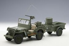 74016 Jeep Willys (Army Green) 1943 (Trailer / Accessories Includ, 1:18 Autoart