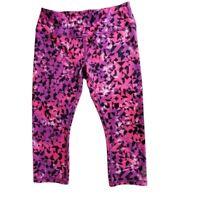 Reebok Womens Multicolored Geometric Print Size Medium High Rise Capri Leggings