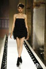 Anna Molinari Dress Black Strapless Ruffle Trim Mini Size I 38 US 6 UK 2 XS