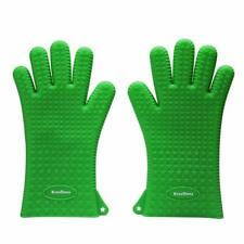 Large Silicone Oven Mitts Green Fingers Heat Resistant FDA Approved BPA Free