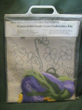 vtg crewel embroidery KIT Violets Heritage Hill picture/pillow Flower of Month