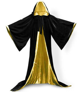 New Stock! Black Cape Hooded Cloak Wizard Robes Costumes Lined in 10 Colors