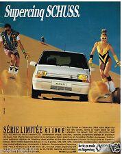 Publicité Advertising 1988 Renault 5 Supercinq Schuss