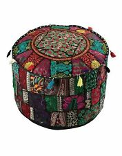 "22"" Black Ottoman Round Footstool Seat Cover Handmade Vintage Pouf Cover Indian"