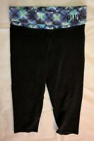 VICTORIA'S SECRET PINK YOGA Women's Black Yoga Capri Pants Size S Petite