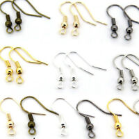 100PCS DIY Jewelry Making Findings Earring Hook Coil Ear Wire Gold Sliver