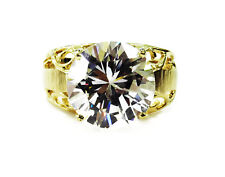 10K Yellow Gold Round Cubic Zirconia Engagement Ring ~4.1g