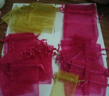 ORGANZA GIFT BAGS - JOB LOT OF 48 - GOLD AND FUSCHIA VARIOUS SIZES