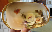"""8.75"""" NORITAKE Hand Painted FLORAL ROSES Open Handled Oblong Oval Serving Dish"""