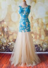 Teal Nude Lace EVENING PAGEANT FORMAL BALL GALA DRESS WEDDING GOWN L 10