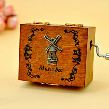 New Mechanical Hand Crank Musical/Music Box, Wooden Hand Crank Music Box