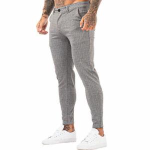 GINGTTO Men Slim Fit Stretch Chino Trousers Skinny Spandex Gary Plaid Pants 2021