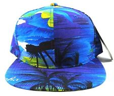 HAWAIIAN PRINT SNAPBACK HAT CAP FLAT BILL FLORAL HAWAII BLUE OCEAN FLOWER BEACH
