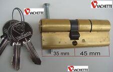 VACHETTE,Cylindre Sécurité,Sureté,80 mm,3 Clés,35 x 45 mm,Canon,Barillet,SERRURE