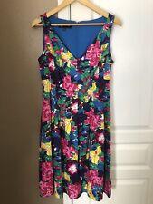 JONES NEW YORK Size 14 Fit & Flare Dress Floral Sleeveless Pockets