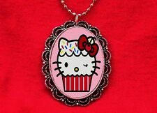HELLO CUPCAKE KITTY CAT CAKE BAKER NECKLACE KAWAII