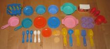 Vintage Fisher Price Cupcake Holder Bowls Plates Utensils Misc Item Play Dishes