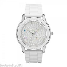NEW-DKNY WHITE ACRYLIC BAND+SILVER TONE DIAL+PAVE CRYSTALS WATCH NY8606+TAG