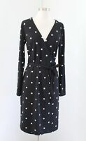 Ann Taylor Womens Black White Polka Dot Printed Long Sleeve Wrap Dress Size 4